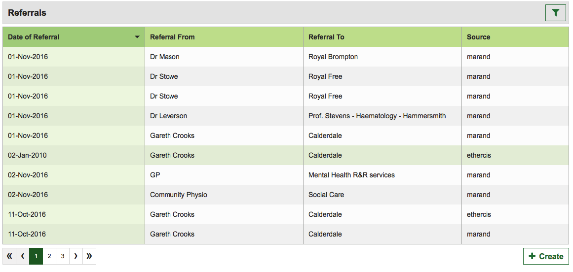 Referrals list view