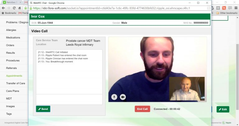 Clinical View via WebRTC